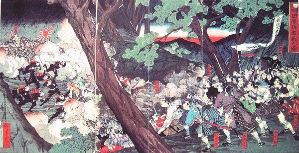日本でコレラが大流行した明治10年は西南戦争が勃発した年。戦線でコレラが発生し、帰還兵によって全国に流行が広がったと言われる。絵は田原坂の戦い(Wikipediaより)
