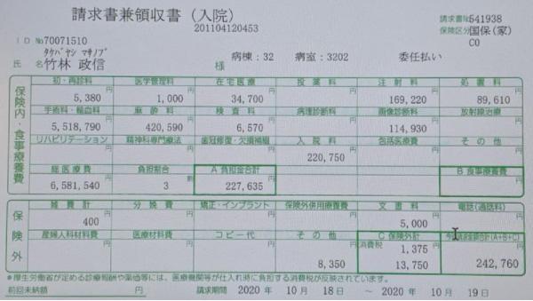 竹林さんの救命措置にかかった医療費請求書。10時間余りの治療だったが650万円を超えている(竹林さん提供)