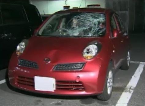 ひとみさんに気づかず、ノーブレーキではねた加害者の車(竹田さん提供)