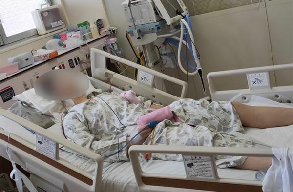 頸髄損傷で四肢麻痺の障害を負い、闘病中の陽子さん(石田さん提供)