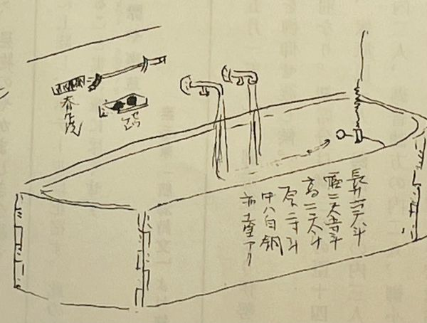 1860年、ウィラードホテルのバスタブと2つの水栓を描いたイラスト(『加藤素毛世界一周の記録』より)