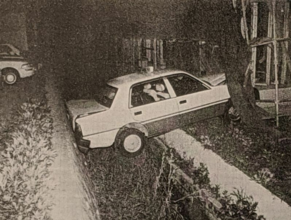25年前に熊本市内で発生した死亡事故現場。事故を起こしたタクシー運転手は、エンスト後ブレーキがまったく利かなくなったと訴えたが聞き入れられず、有罪となった(調書より筆者撮影)