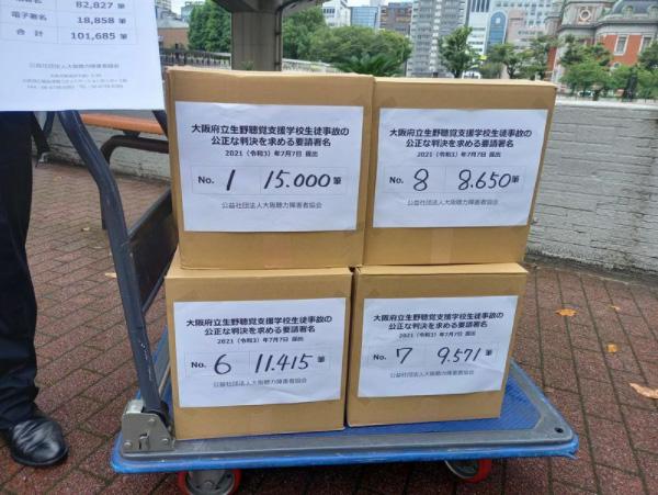 7月7日、大阪地裁に提出された10万1685筆の署名用紙(井出さん提供)