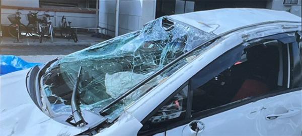 広島で発生した少年による暴走事故の事故車(被害者提供)